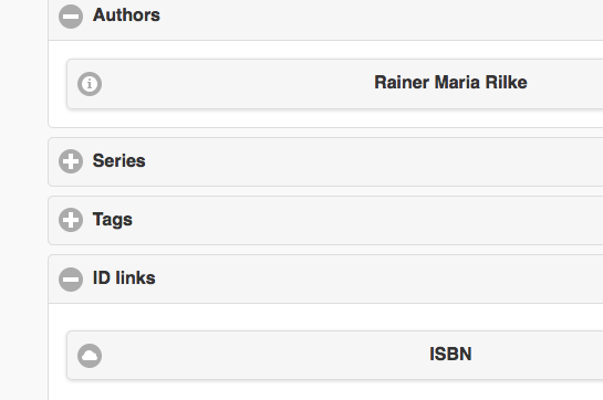 Book details page with ID link for ISBN